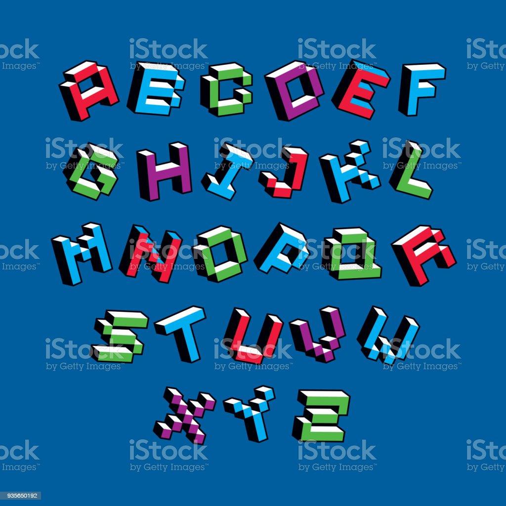 Kybernetische 3d Alphabet Buchstaben Pixel Kunst Vektor Digitalen ...
