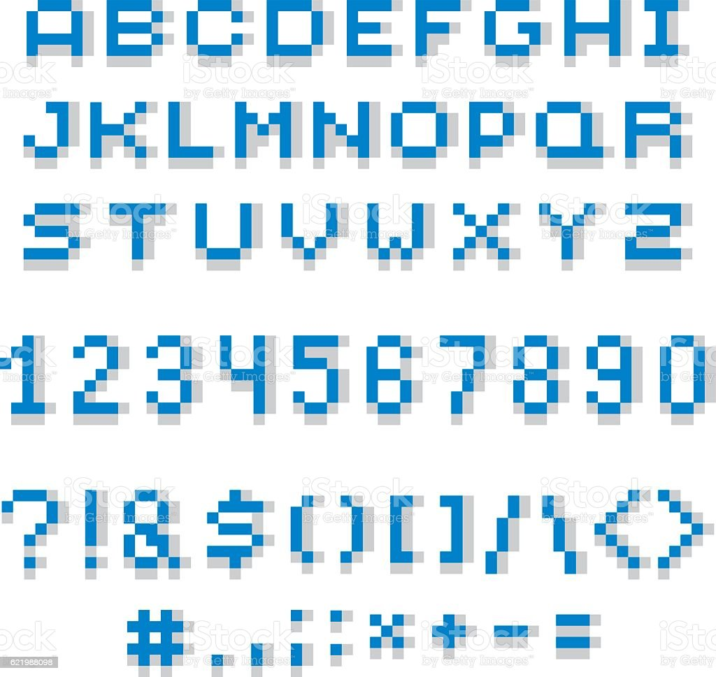 Cybernetic 3d Numbers Letters And Punctuation Marks Pixel Art Stock ...
