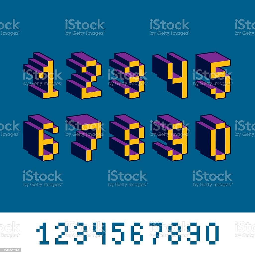 Cybernetic 3d Numbers Pixel Art Vector Numeration Pixel