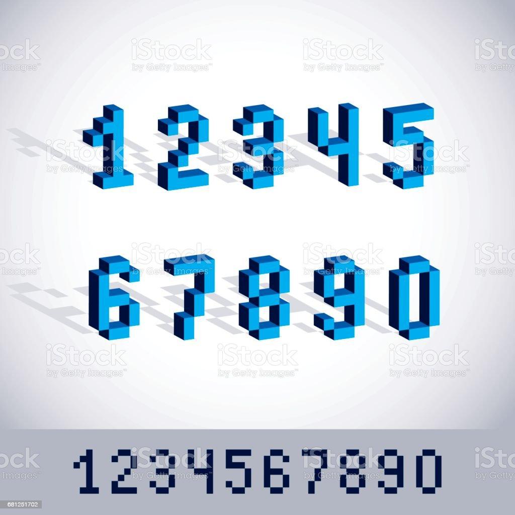 Cybernétique 3d Nombres Numération De Pixel Art Vectoriel