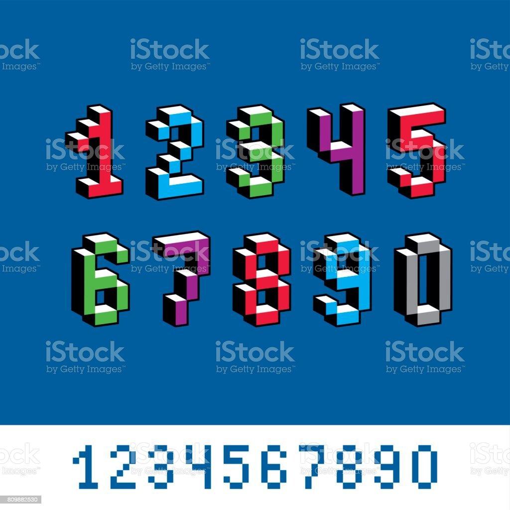 Kybernetische 3d Zahlen Pixelart Vektornummerierung ...