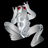 cybernetic silver metal techno frog from gears with red eyes