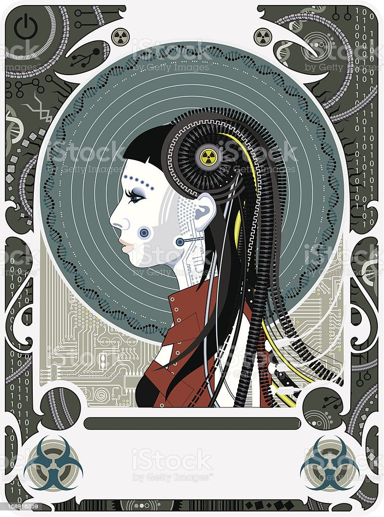 Cyberpunk Art Deco vector art illustration