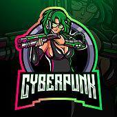 Cyberpunk esport logo mascot desig