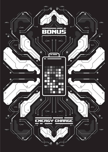 cyberpunk futuristische poster mit batterie-symbol. tech-abstrakte plakat-vorlage. moderne flyer für web und print. - schwarzwald stock-grafiken, -clipart, -cartoons und -symbole