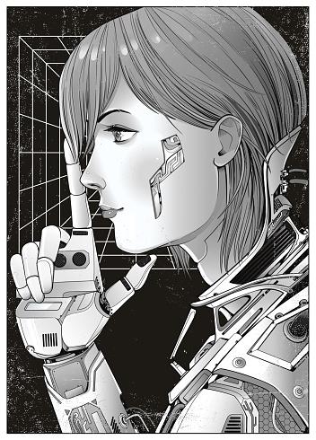 Cyberpunk illustration manga style