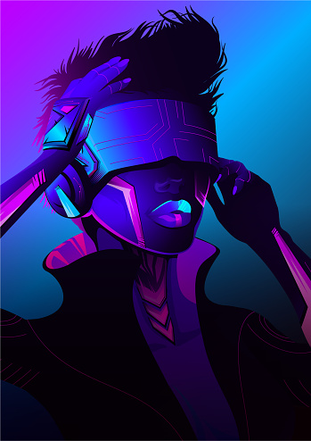 Cyberpunk sci-fi poster.
