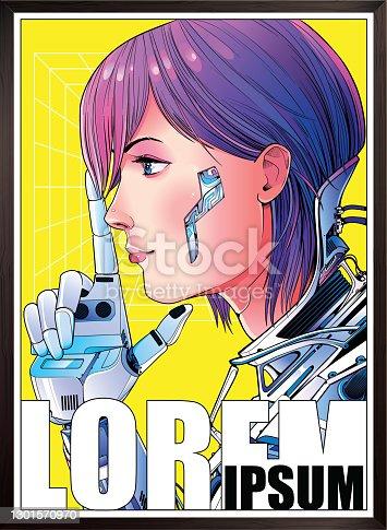 istock Cyberpunk sci-fi Poster 1301570970