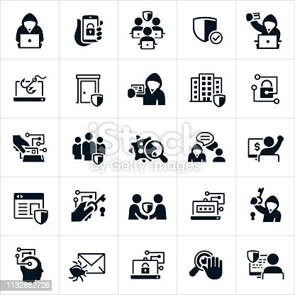A set of cybersecurity icons. The icons include cyber criminals, cybersecurity, viruses, computers, shield, protection, safety, cybersecurity team, smartphone, phishing, criminal, stolen credit card, corporation, locked door, identity theft, computer bug, email, dangers, lock and key, website security, password, spying, Internet privacy and software security to name just a few.