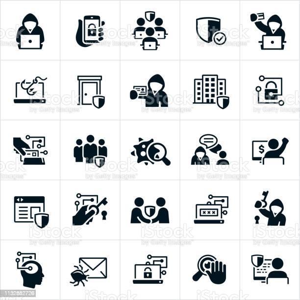 Cybersecurity Icons — стоковая векторная графика и другие изображения на тему Администратор