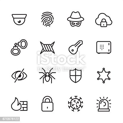 16 line black and white icons / Set #21