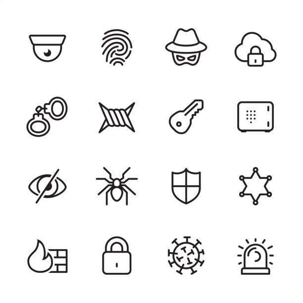 ilustrações, clipart, desenhos animados e ícones de segurança cibernética - conjunto de ícones de contorno - roubo de identidade