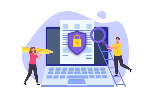 Cybersecurity, Protection network safe data concept. Web page design templates. Vector illustration