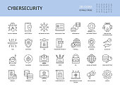 Cybersecurity vector icons. Editable stroke. Access control app network security, data protection backup software update 2fa. Encryption spam messages antivirus phishing malware, vpn password firewall