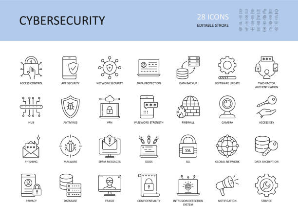 Cybersecurity vector icons. Editable stroke. Access control app network security, data protection backup software update 2fa. Encryption spam messages antivirus, phishing malware vpn password firewall Cybersecurity vector icons. Editable stroke. Access control app network security, data protection backup software update 2fa. Encryption spam messages antivirus phishing malware, vpn password firewall security stock illustrations