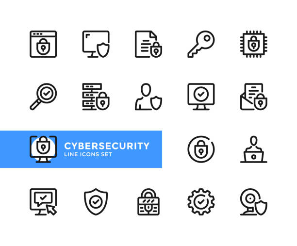 Cybersecurity vector line icons. Simple set of outline symbols, linear graphic design elements. Cybersecurity icons set. Pixel Perfect Cybersecurity vector line icons. Simple set of outline symbols, linear graphic design elements. Cybersecurity icons set. Pixel Perfect antivirus software stock illustrations