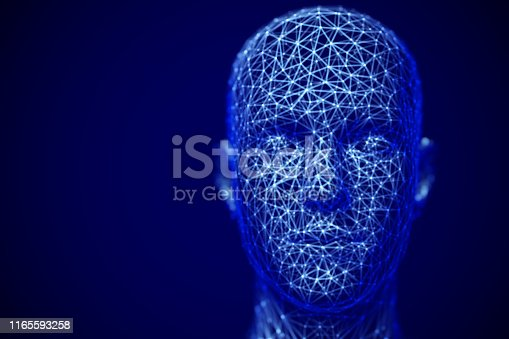 istock Cyberspace or machine learning concept: polygonal male face. 1165593258
