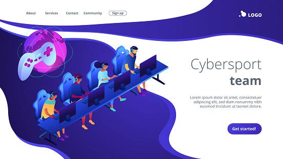 Cybersport team isometric 3D landing page.