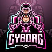 Cyborg girl mascot. esport logo design