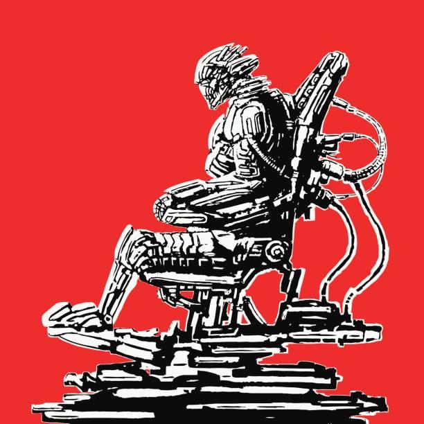 bildbanksillustrationer, clip art samt tecknat material och ikoner med cyborg pilot sitter i kostym på tronen järn. vektorillustration. - tron sci fi