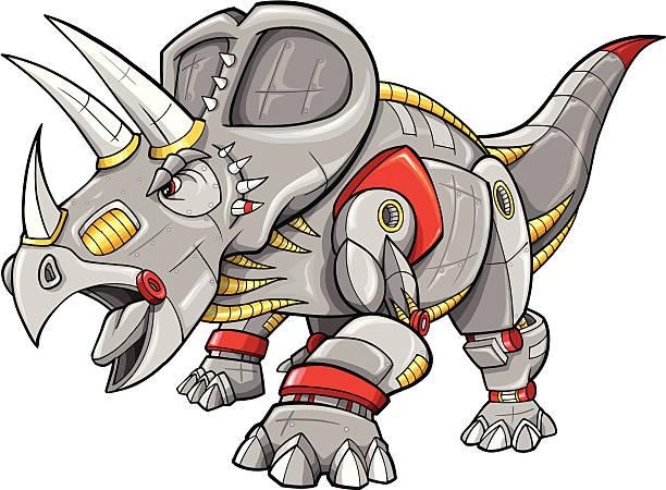 Cyborg Robot Machine Triceratops Dinosaur vector art illustration