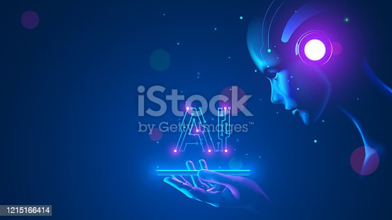 istock Cyborg woman look at logo AI hanging over phone. Abbreviation AI consists pcb elements. Artificial intelligence with beautiful face in blue virtual cyberspace leaning towards at screen smartphone. 1215166414