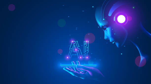 Cyborg woman look at logo AI hanging over phone. Abbreviation AI consists pcb elements. Artificial intelligence with beautiful face in blue virtual cyberspace leaning towards at screen smartphone. vector art illustration