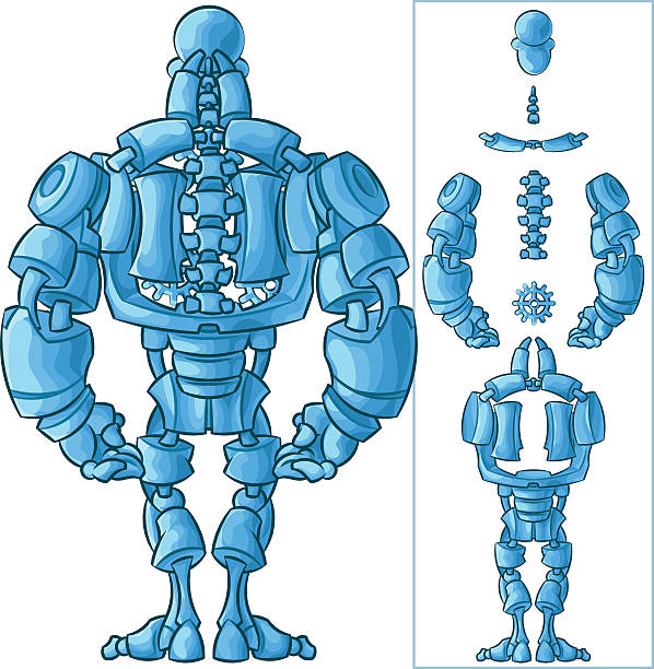 Cyborg's back vector art illustration