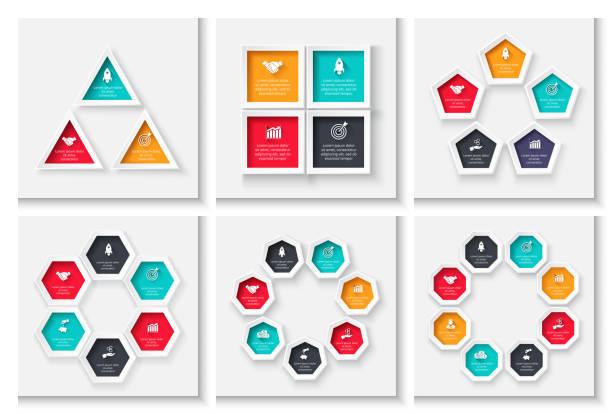 stockillustraties, clipart, cartoons en iconen met cyclus business grafische elementen. business proces infographics met 3, 4, 5, 6, 7 en 8 stappen. geometrische presentatiesjabloon. moderne vector infochart lay-outontwerp. - achthoek