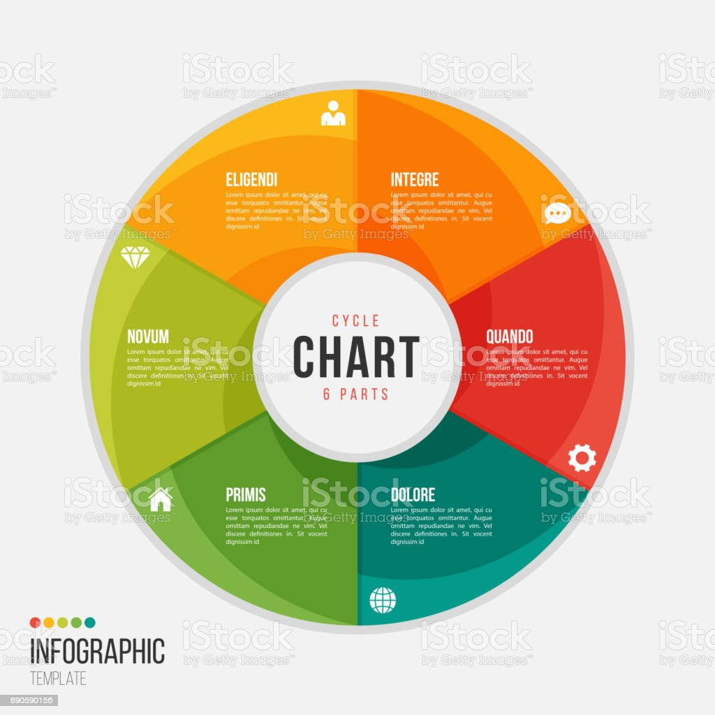 Cycle chart infographic template with 6 parts, options, steps royalty-free cycle chart infographic template with 6 parts options steps stock illustration - download image now