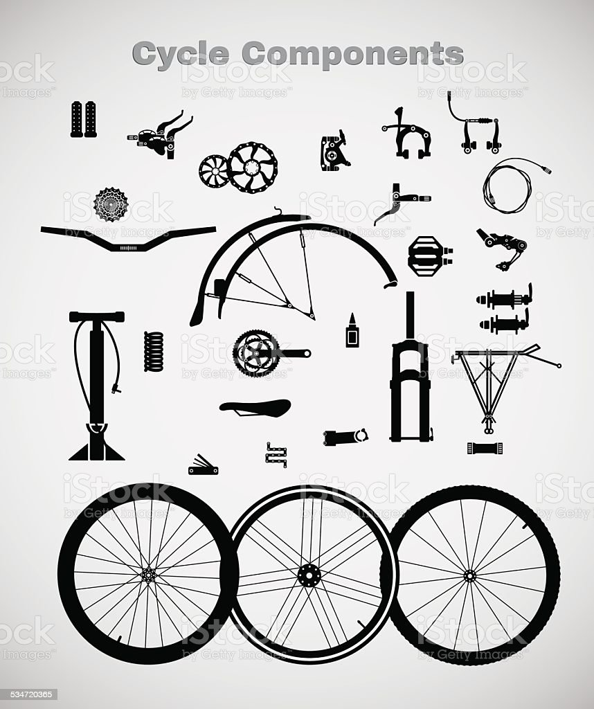 Cycle components. vector art illustration