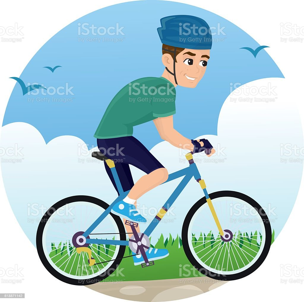 Cycle Man vector art illustration
