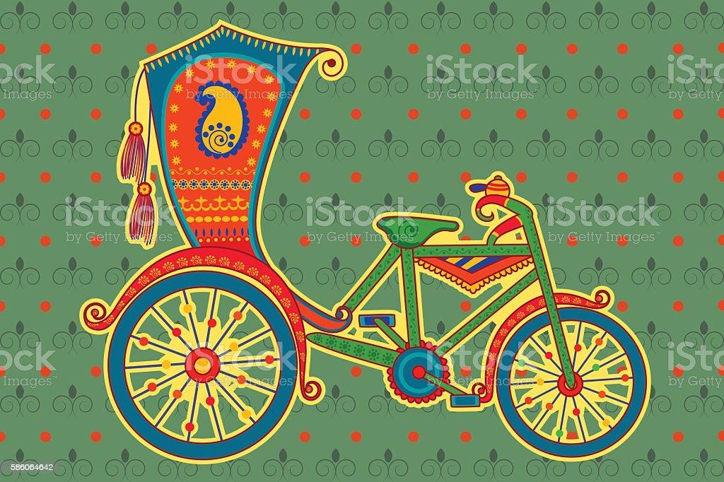 Cycle rickshaw in Indian art style vector art illustration