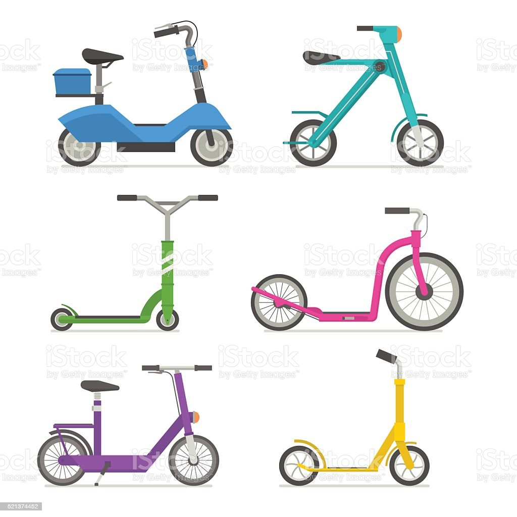 Cycle Scooter Set Vector Icons vector art illustration