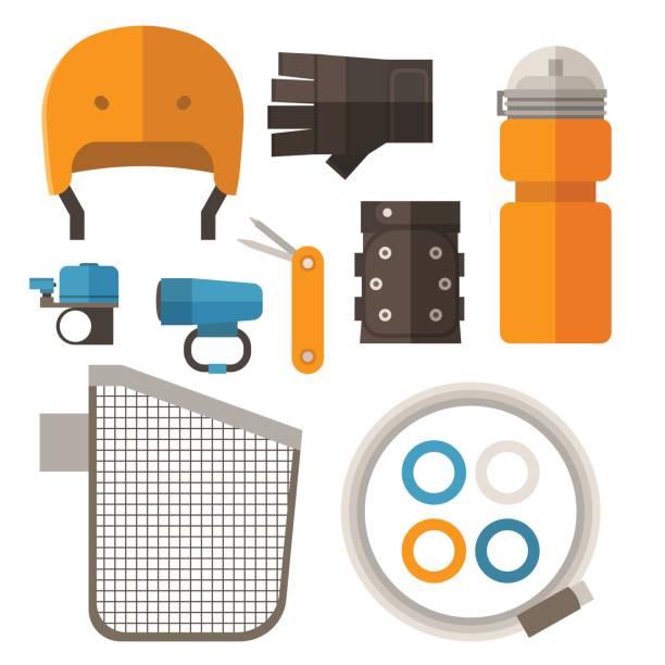 Cycling Accessories Set vector art illustration