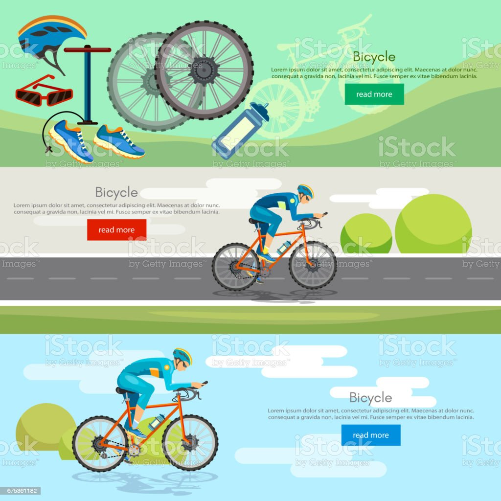Cycling banner active lifestyle sport icon set bicycle riders vector. Sports cycle races concept vector art illustration