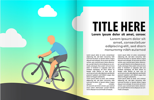 Cycling Book or magazine illustration template.