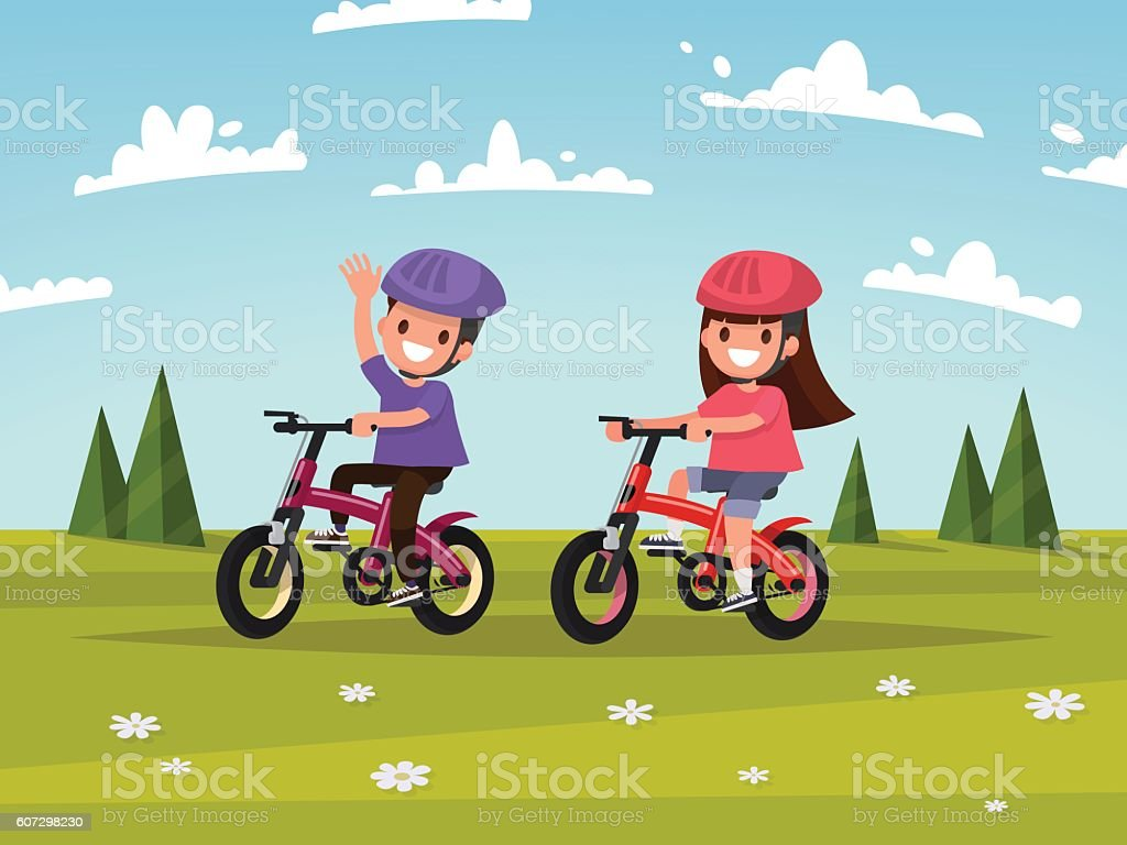 Cycling. Boy and girl go for a drive on bicycles vector art illustration