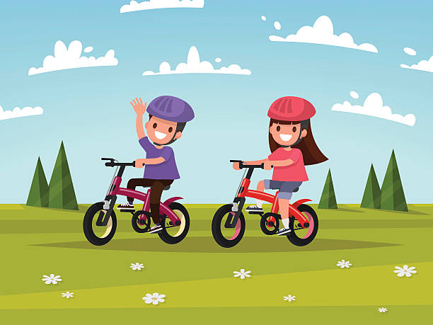 Royalty Free Kids Riding Bikes Clip Art Vector Images