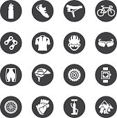Cycling Circle Silhouette icons   EPS10
