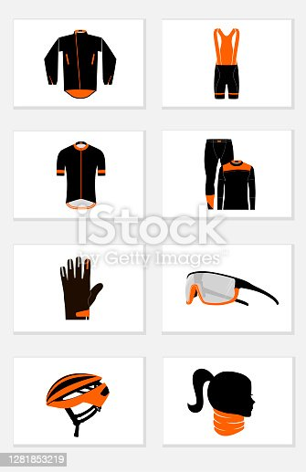 Cycling clothing for comfortable and safe cycling, icons set on white background