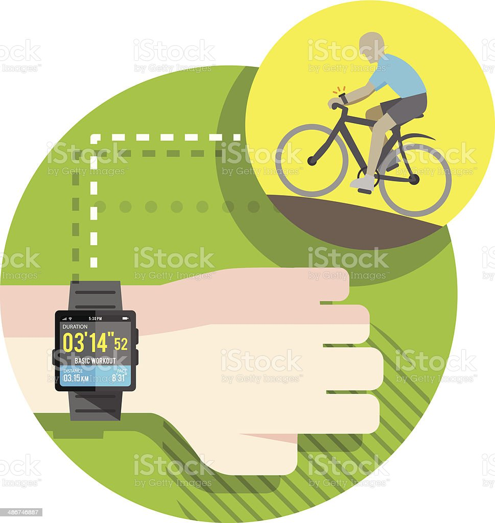 Cycling exercise tracking by Smart Watch vector art illustration