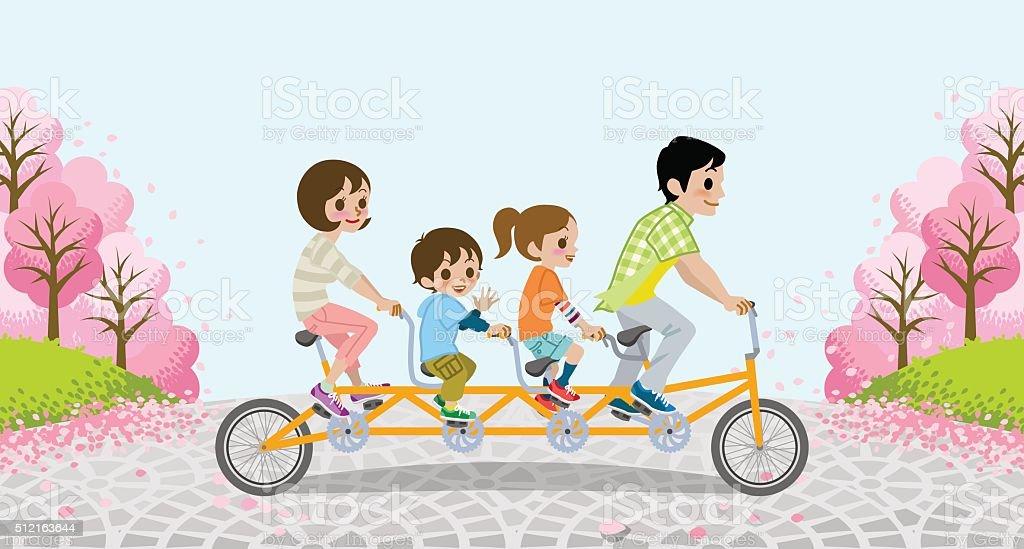 Famiglia In Bicicletta Tandemalberi Di Ciliegioeps10 Immagini Vettoriali Stock E Altre Immagini Di Adulto