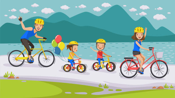 Cycling Family vector art illustration