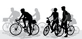 Silhouette vector illustration of cyclists sharing the road