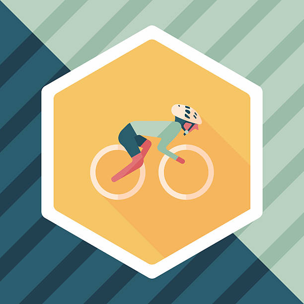cycling flat icon with long shadow,eps10 vector art illustration