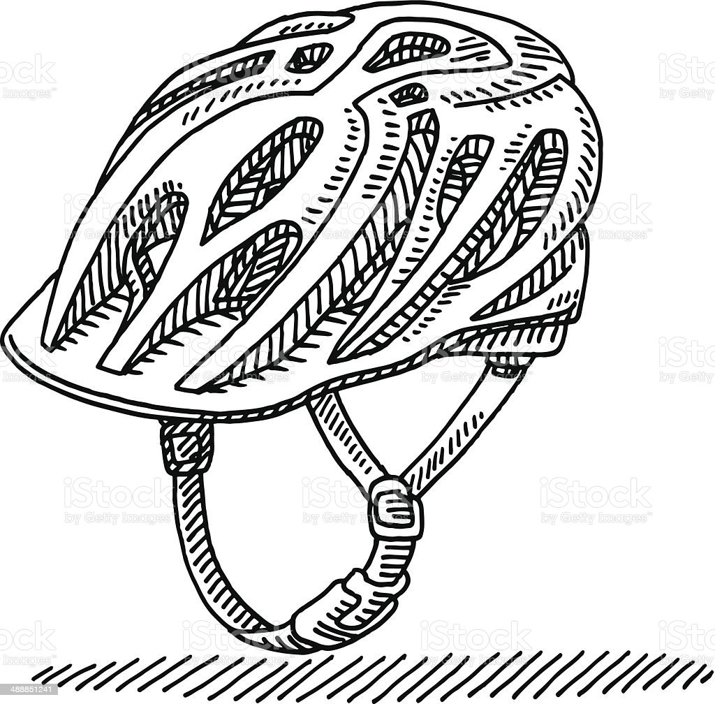 Cycling Helmet Drawing vector art illustration