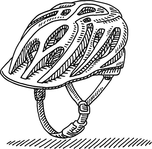 Cycling Helmet Drawing Hand-drawn vector drawing of a Cycling Helmet. Black-and-White sketch on a transparent background (.eps-file). Included files are EPS (v10) and Hi-Res JPG. cycling stock illustrations