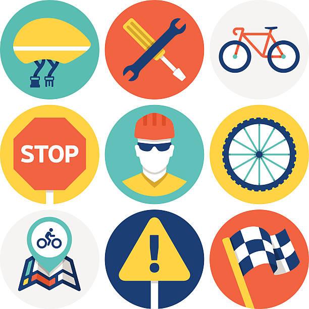 Cycling Icons and Symbols vector art illustration
