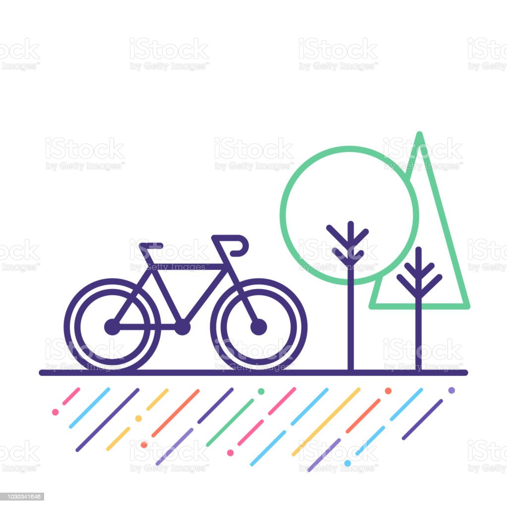 Cycling Line Icon Line vector icon illustration of cycling outdoor. Abstract stock vector